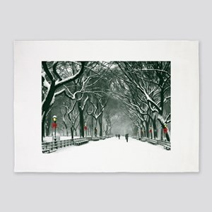 Central Park Snowy Path 5'x7'Area Rug