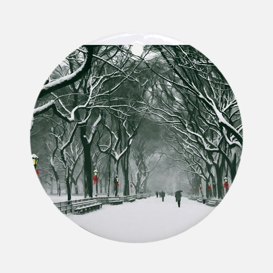 Central Park Snowy Path Round Ornament