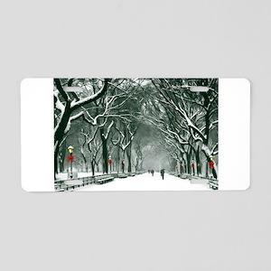 Central Park Snowy Path Aluminum License Plate