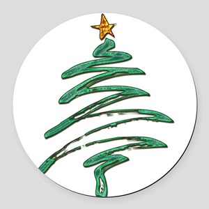Swished Xmas Tree Logo copy Round Car Magnet