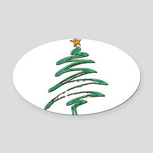 Swished Xmas Tree Logo copy Oval Car Magnet