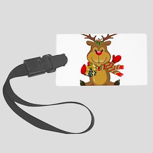 Sitting Reindeer w Package Scar Large Luggage Tag