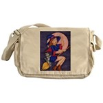Witch, Cat and Ruby Moon Messenger Bag