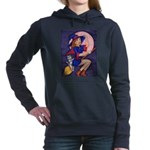 Witch, Cat and Ruby Moon Women's Hooded Sweatshirt