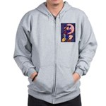 Witch, Cat And Ruby Moon Zip Hoodie