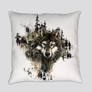 Watercolor Wolf Mountain Art Everyday Pillow