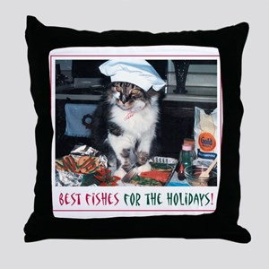Holiday Kitty - Best Fishes! Throw Pillow