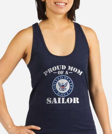 Proud Mom Of A US Navy Sailor Racerback Tank Top
