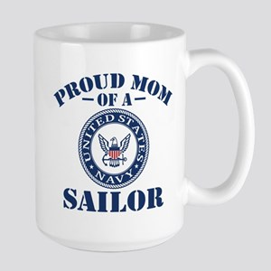 Proud Mom Of A US Navy Sailor Large Mug