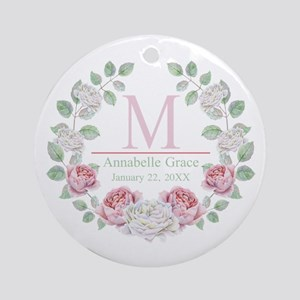 Baby Girl Floral Monogram Round Ornament