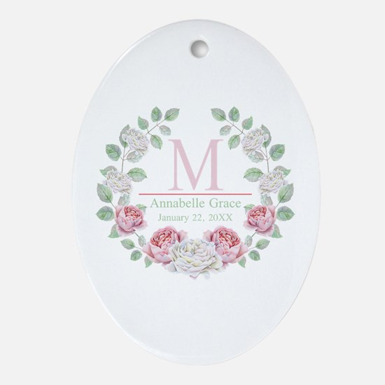 Baby Girl Floral Monogram Oval Ornament