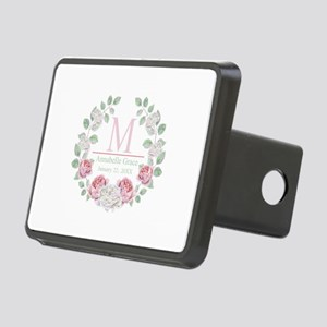 Baby Girl Floral Monogram Hitch Cover