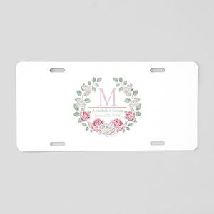 Baby Girl Floral Monogram Aluminum License Plate