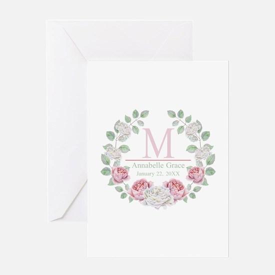 Baby Girl Floral Monogram Greeting Cards