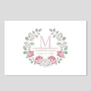 Baby Girl Floral Monogram Postcards (Package of 8)