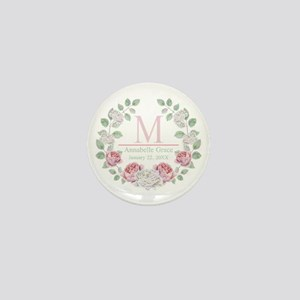 Baby Girl Floral Monogram Mini Button (10 pack)