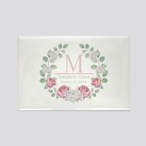 Baby Girl Floral Monogram Magnets