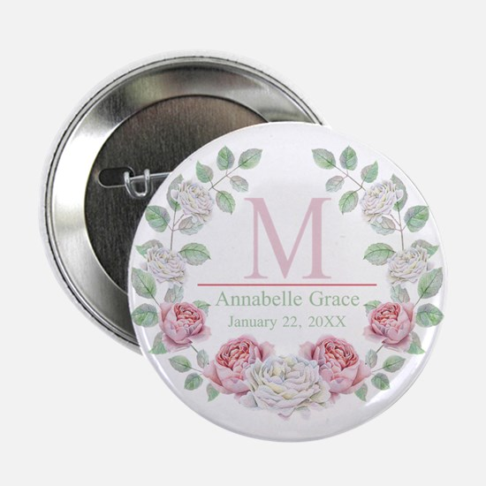 """Baby Girl Floral Monogram 2.25"""" Button (10 pack)"""