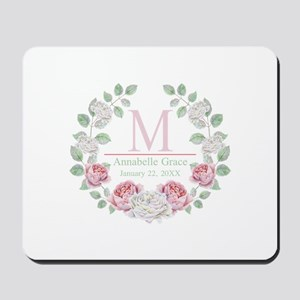 Baby Girl Floral Monogram Mousepad