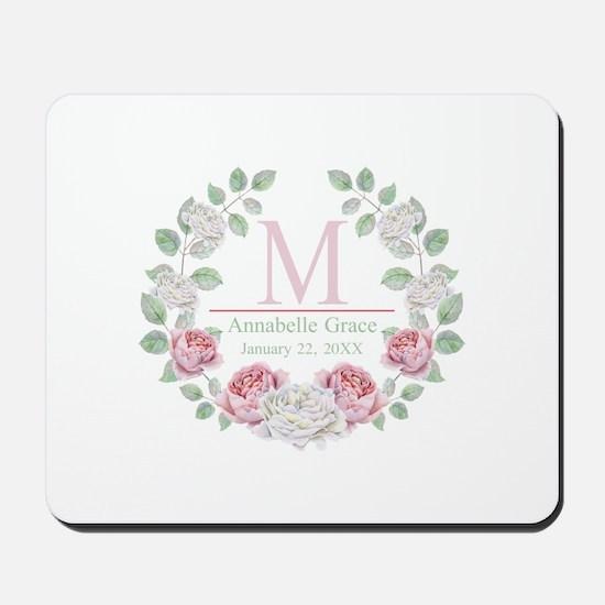 Baby Girl Floral Monogram Mousepad