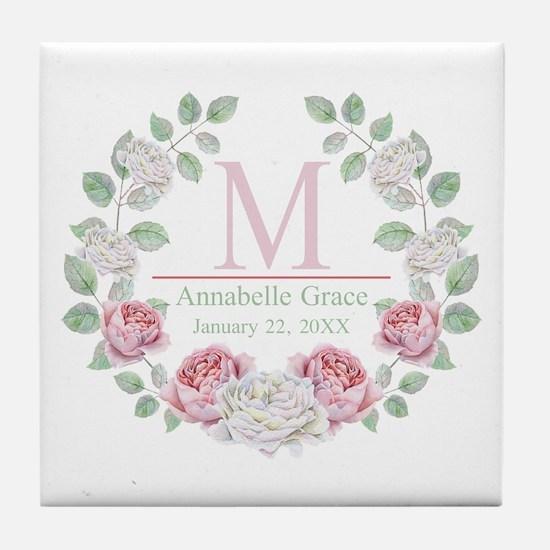Baby Girl Floral Monogram Tile Coaster