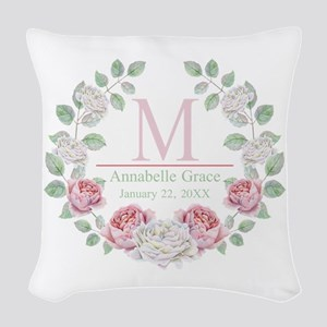 Baby Girl Floral Monogram Woven Throw Pillow