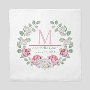 Baby Girl Floral Monogram Queen Duvet