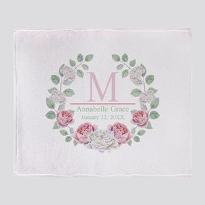 Baby Girl Floral Monogram Throw Blanket