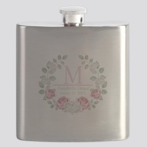 Baby Girl Floral Monogram Flask