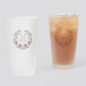Baby Girl Floral Monogram Drinking Glass