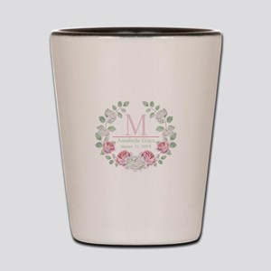 Baby Girl Floral Monogram Shot Glass
