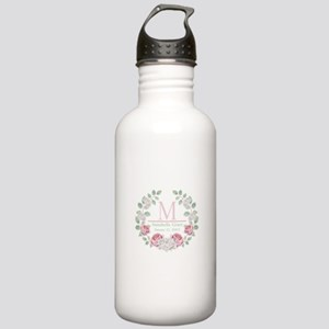 Baby Girl Floral Monogram Water Bottle