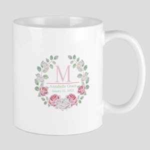 Baby Girl Floral Monogram Mugs