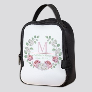 Baby Girl Floral Monogram Neoprene Lunch Bag