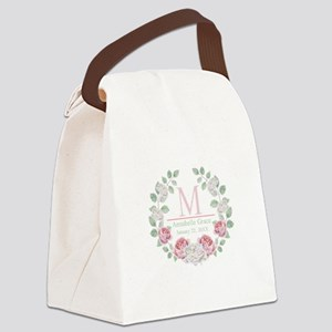 Baby Girl Floral Monogram Canvas Lunch Bag