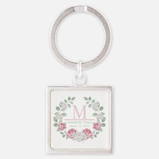 Baby Girl Floral Monogram Keychains