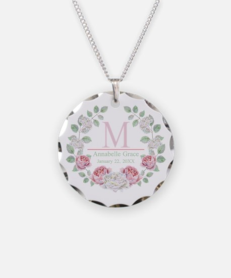 Baby Girl Floral Monogram Necklace