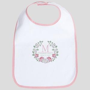 Baby Girl Floral Monogram Baby Bib