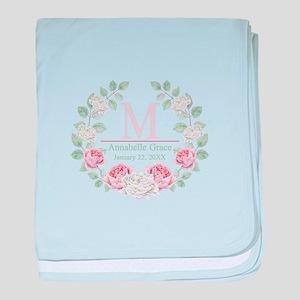 Baby Girl Floral Monogram baby blanket