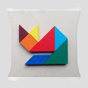 Multicolor cat Tangram Woven Throw Pillow