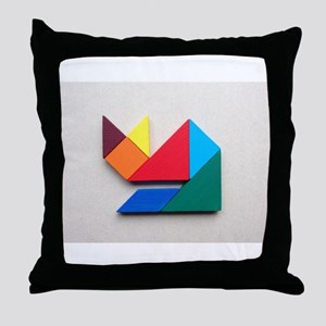 Multicolor cat Tangram Throw Pillow