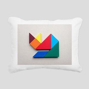 Multicolor cat Tangram Rectangular Canvas Pillow