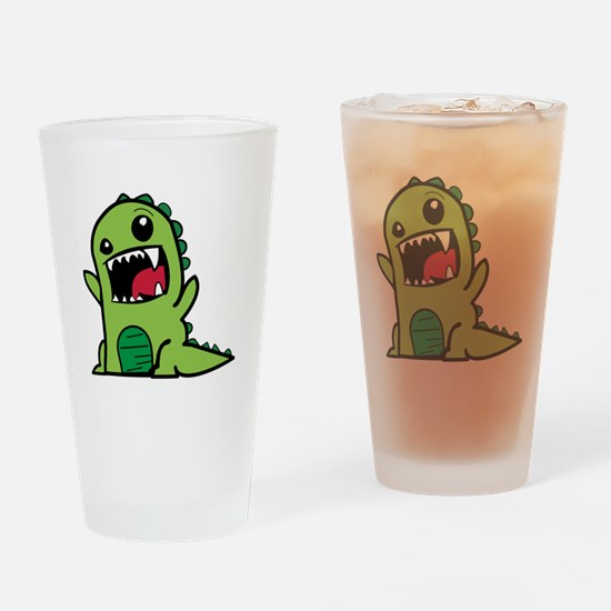 Adorable Cartoon Green Dinosaur Drinking Glass