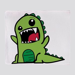 Adorable Cartoon Green Dinosaur Throw Blanket