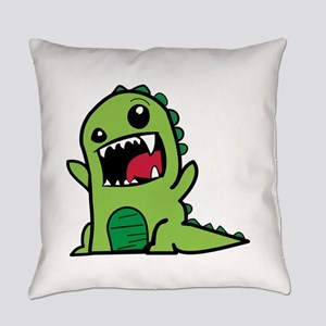 Adorable Cartoon Green Dinosaur Everyday Pillow