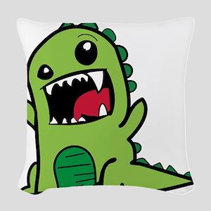Adorable Cartoon Green Dinosau Woven Throw Pillow