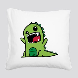 Adorable Cartoon Green Dinosa Square Canvas Pillow
