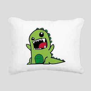 Adorable Cartoon Green D Rectangular Canvas Pillow