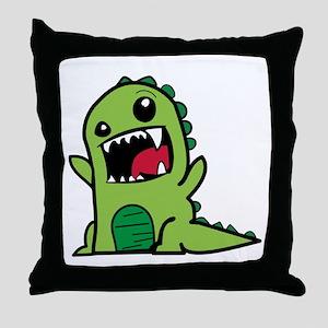 Adorable Cartoon Green Dinosaur Throw Pillow