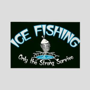 Ice Fishing Rectangle Magnet